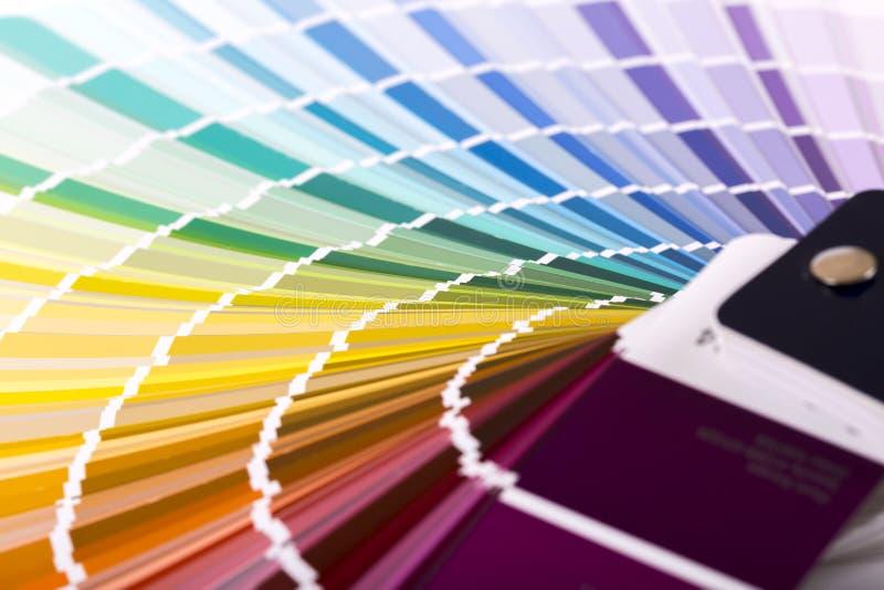 Zbliżenie farba koloru próbki katalog fotografia stock
