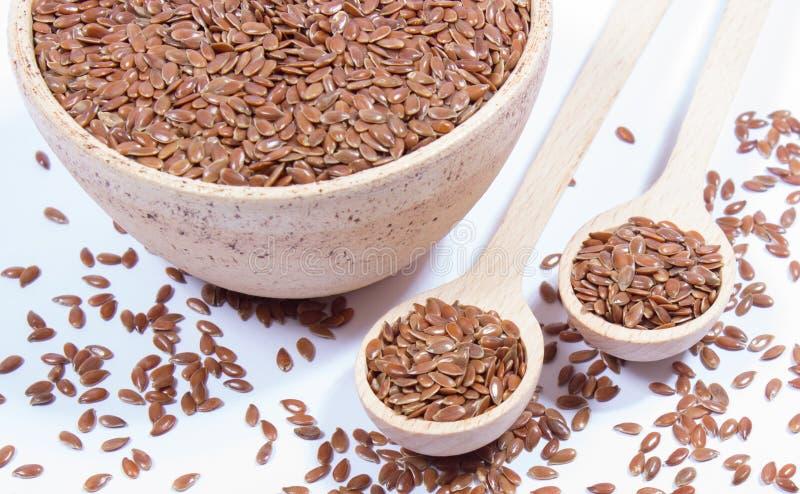 Zbliżenie flaxseed na bielu zdjęcie stock