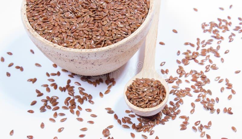 Zbliżenie flaxseed na bielu zdjęcie royalty free