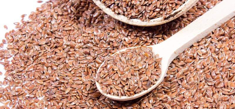 Zbliżenie flaxseed na bielu fotografia stock