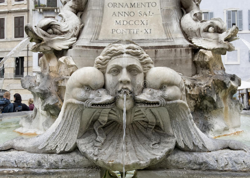 Zbliżenie fontanna w piazza Della Rotonda przed panteonem obrazy stock