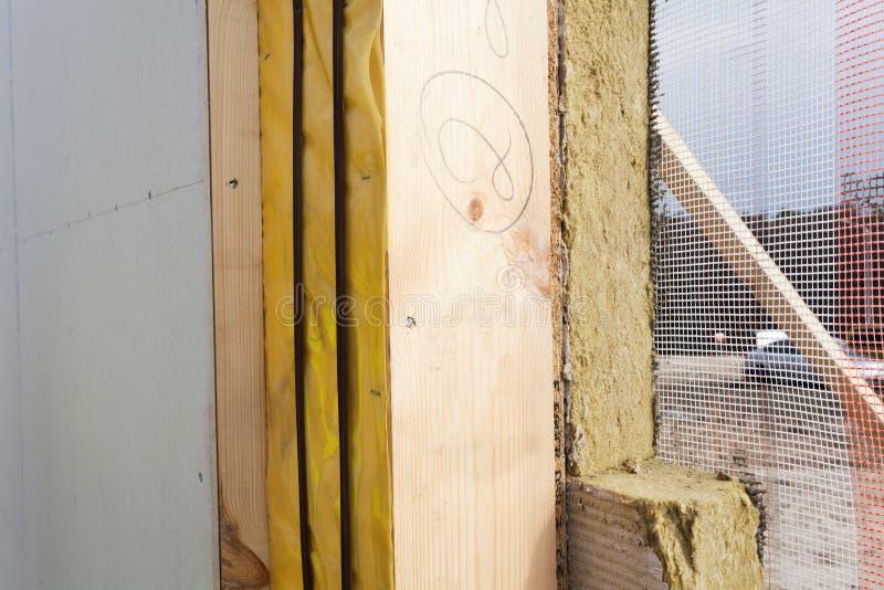 Zbliżenie formalnie Izolujący panel z kopalną rockwool izolacją, Drywall i obraz royalty free