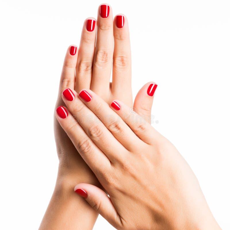 Zbliżenie fotografia kobiety ręki z czerwonymi gwoździami obraz stock