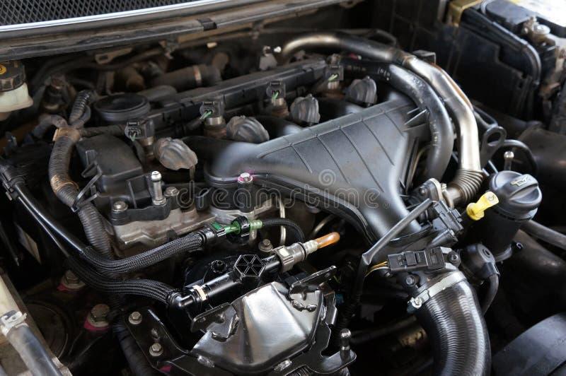Zbliżenie fotografia samochodowy silnik, silnik, Samochodowego silnika tło obraz stock