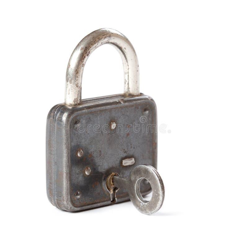 Zbliżenie fotografii rocznika kłódka dalej i klucz obraz stock