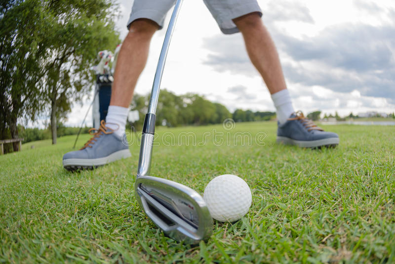 Zbliżenie golfista przygotowywa uderzać golfball zdjęcie royalty free