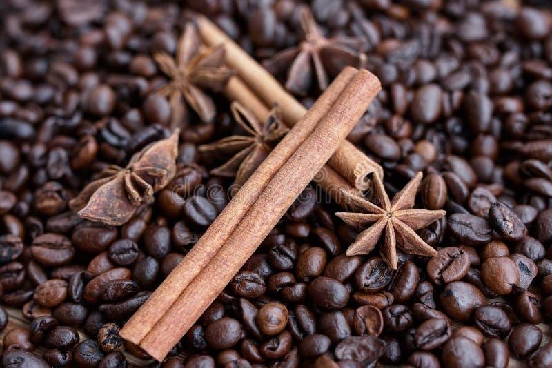 Zbliżenie gwiazdowy anyż, świeża fragrant wanilia połuszczy, cynamonowi kije, kawowe adra, przyprawowi składniki dla gotować i ba fotografia stock