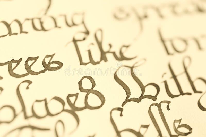 Zbliżenie kaligrafia zdjęcie stock