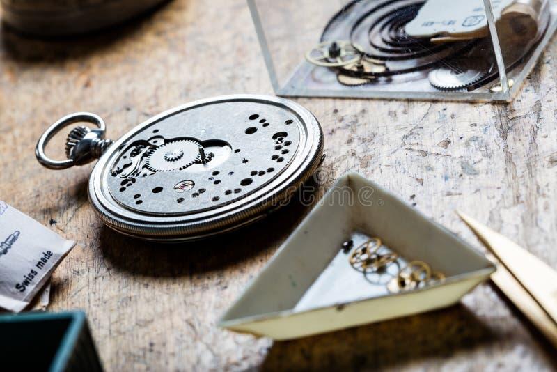 Zbliżenie kieszeniowego zegarka clockworks i mechanizm obrazy royalty free