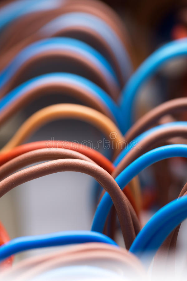 Kolorowi elektryczni druty fotografia royalty free
