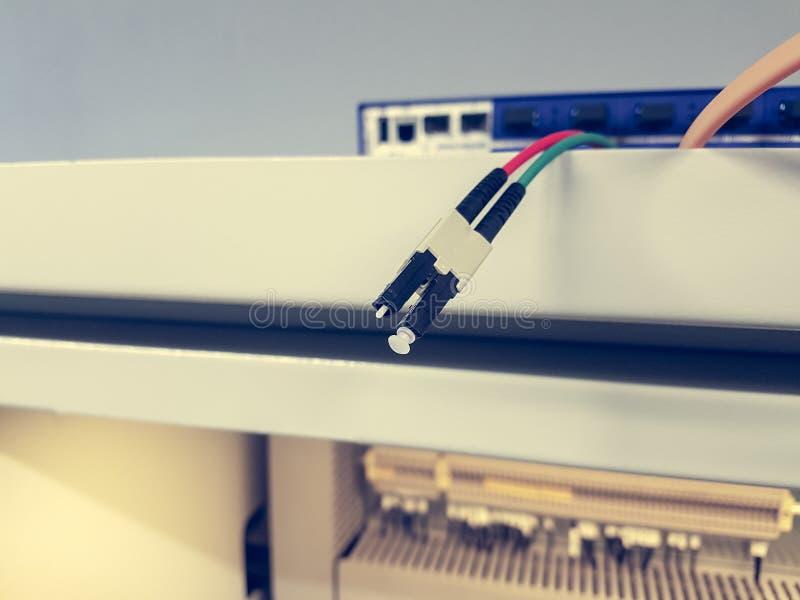 Zbliżenie LC włókna światłowodowego włącznik obraz stock