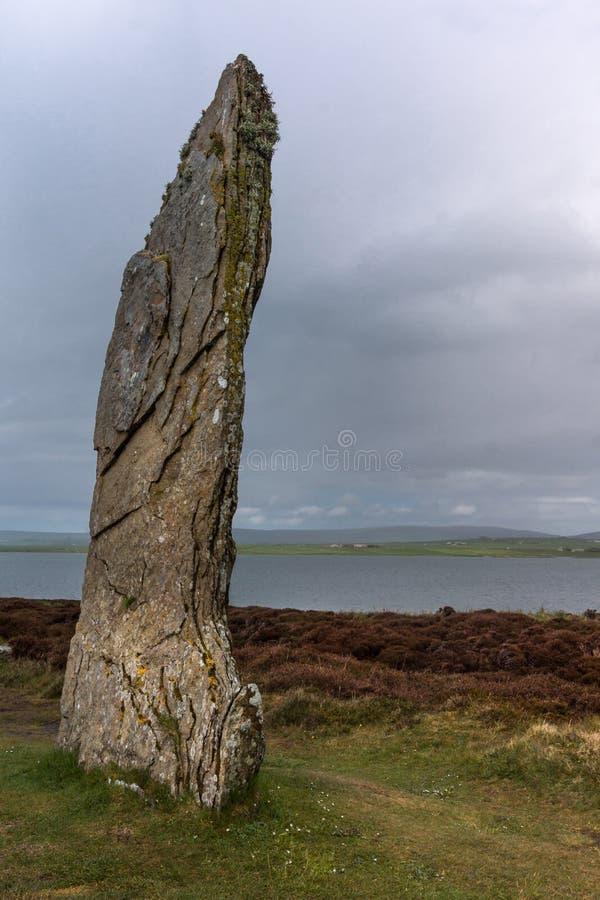 Zbliżenie menhir przy pierścionkiem Brodgar Neolityczny Kamienny okrąg fotografia royalty free