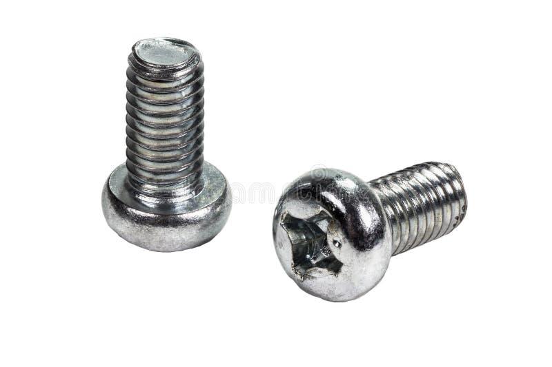 Zbliżenie metalu śruba i dokrętki na białym tle (rygiel) zdjęcie stock
