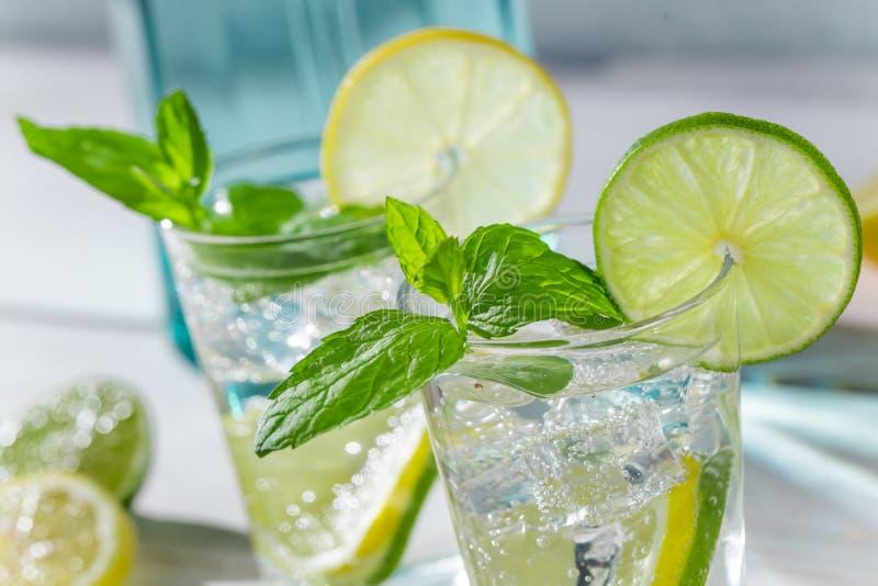 Zbliżenie napój z cytrusa lodem i owoc obraz royalty free
