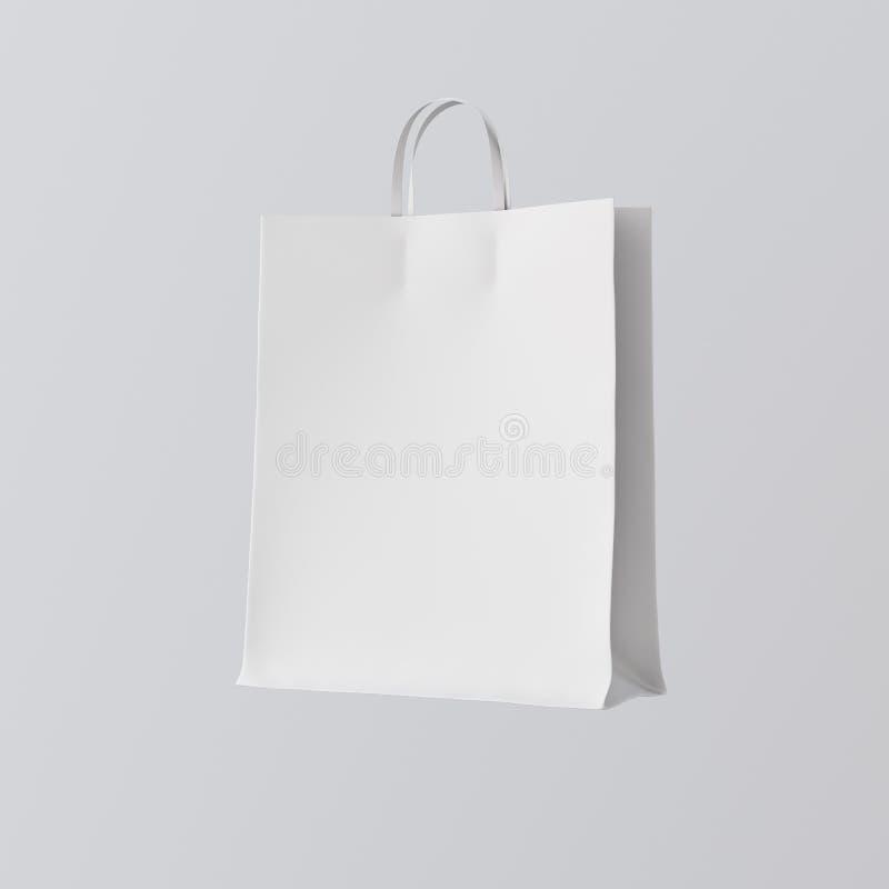 Zbliżenie Papierowej torby Białe Odizolowywać Centrum szarość Opróżniają tło Mockup tekstury Wysoce Szczegółowi materiały Przestr zdjęcie royalty free