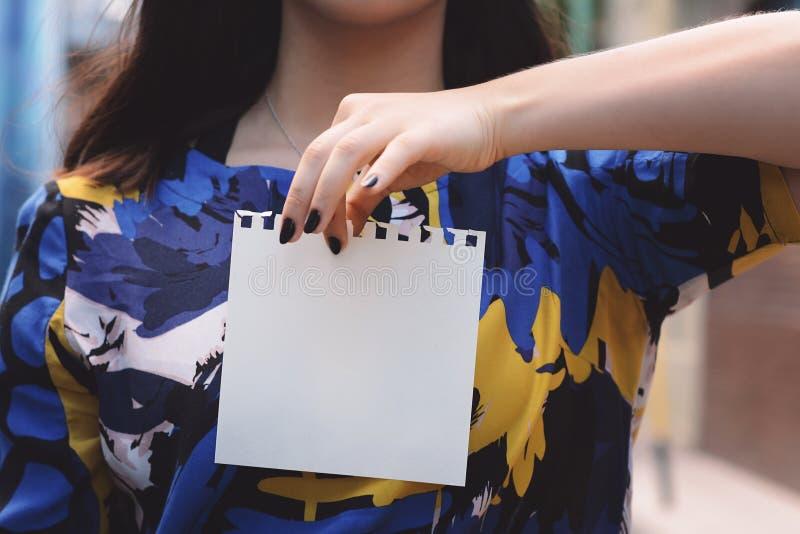 Zbliżenie piękna kobieta pokazuje pustego notepad zdjęcie royalty free