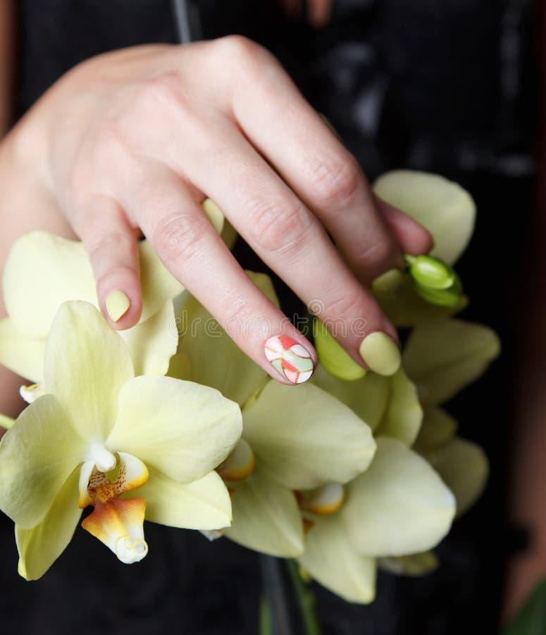 Zbliżenie piękni malujący gwoździe na kwiacie fotografia stock