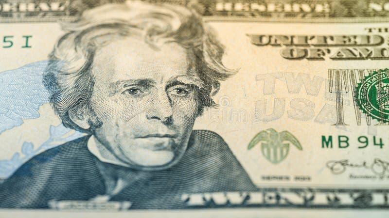 Zbliżenie pieniądze dwadzieścia Amerykański dolarowy rachunek Andrew Jackson portret, USA 20 dolarów banknotu czerep makro- obraz royalty free