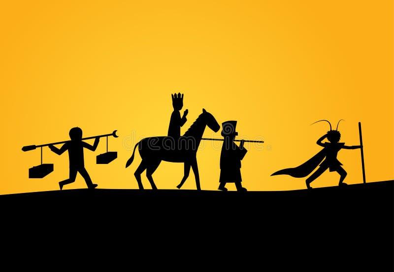 Zbliżenie podróż zachód w sylwetka wektorze ilustracja wektor