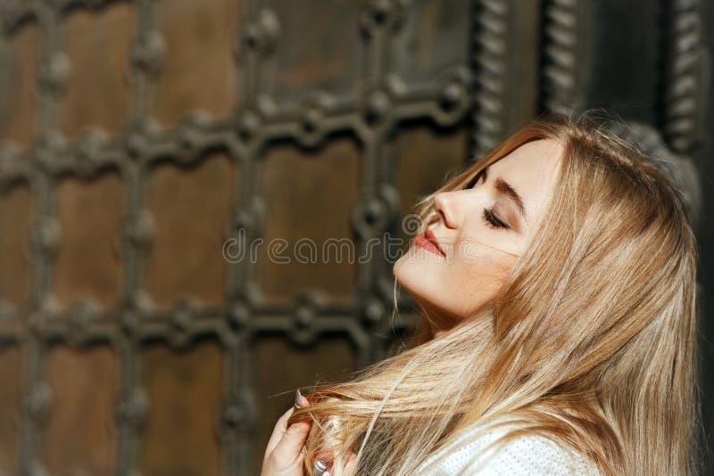 Zbliżenie portret cudowny model z naturalnym makeup pozuje n obraz stock