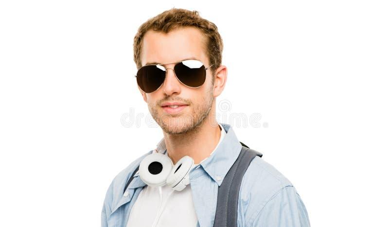 Zbliżenie portret jest ubranym szkła na whit atrakcyjny młody człowiek zdjęcie stock