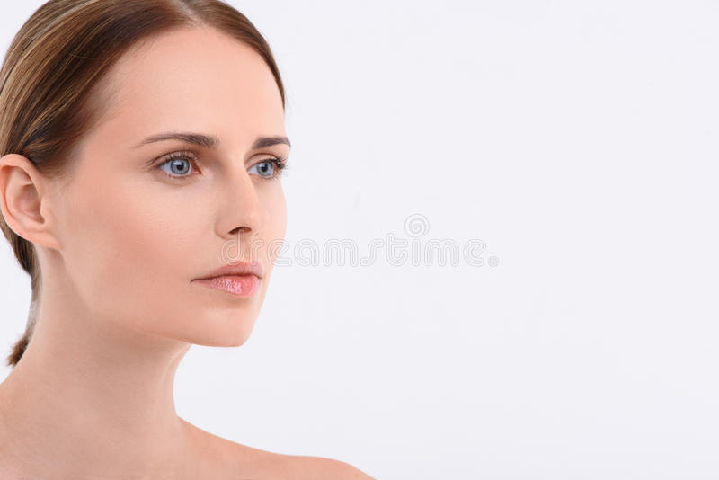 Zbliżenie portret naturalnie piękna kobieta obraz royalty free