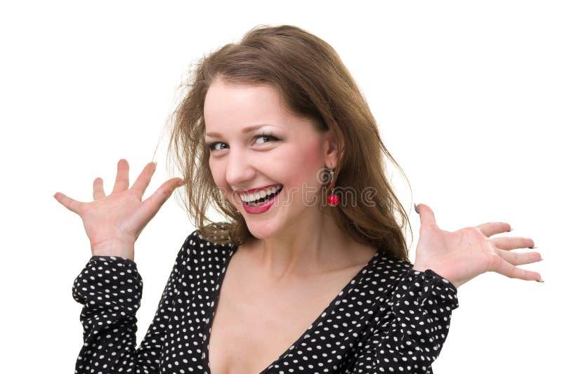 Zbliżenie portret odizolowywający na bielu z copyspace zdziwiona młoda dama obraz royalty free