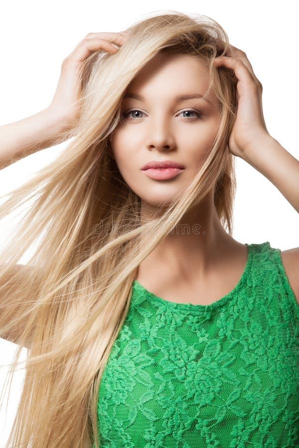 Portret piękna blondynki kobieta fotografia stock
