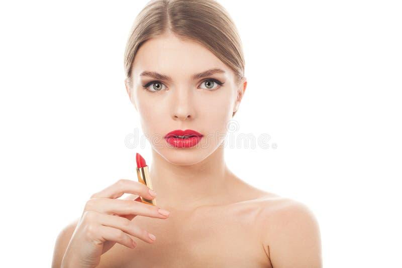 Zbliżenie portret piękna kobieta z piękno twarzą i czystą skórą zdjęcia royalty free