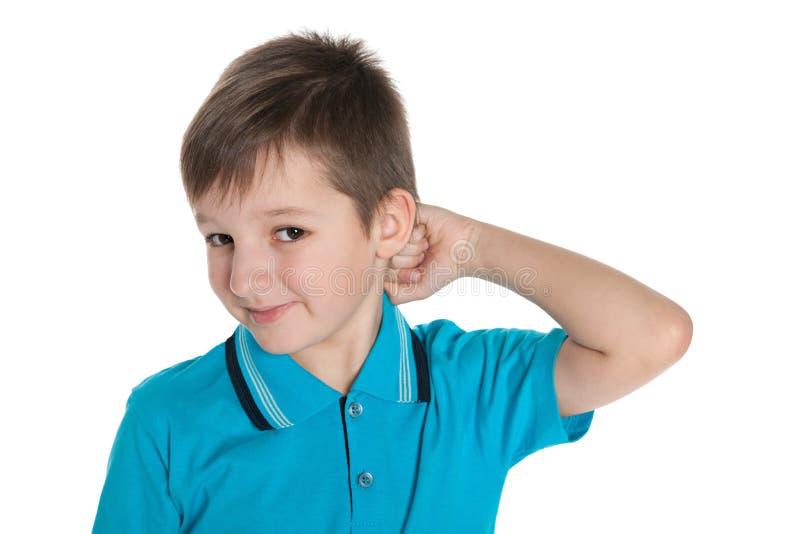 Zbliżenie portret rozważna chłopiec fotografia stock