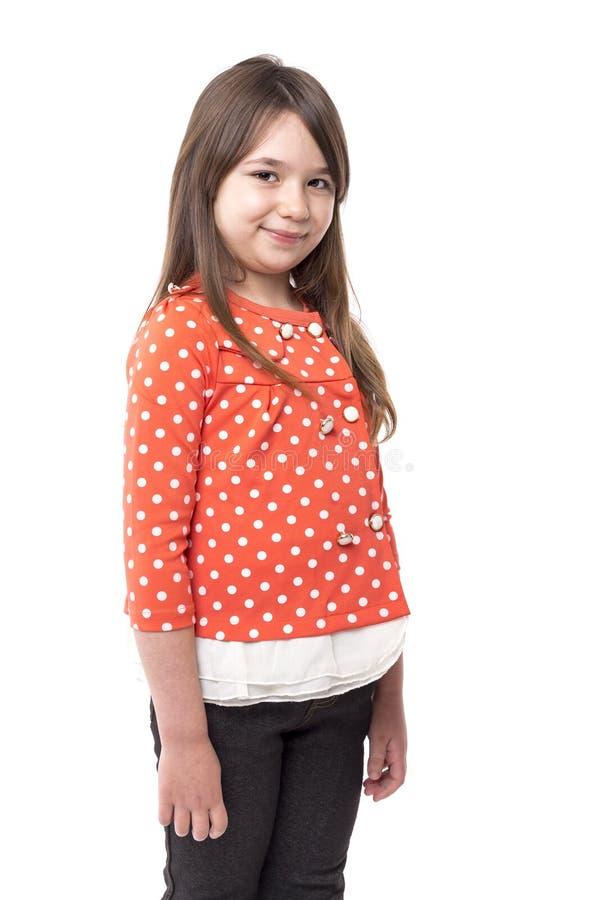 Zbliżenie portret uśmiechnięta ładna mała dziewczynka fotografia royalty free