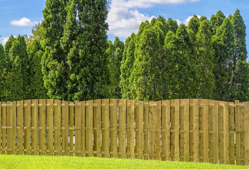 Zbliżenie prywatności ogrodzenie wzdłuż podwórko dom fotografia stock