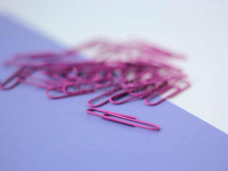 Zbli?enie purpurowi paperclips obraz royalty free