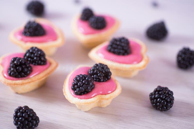 Zbliżenie różowy jagodowy jogurt dekorował z czernicami w pięć sercowatych tartlets obraz stock