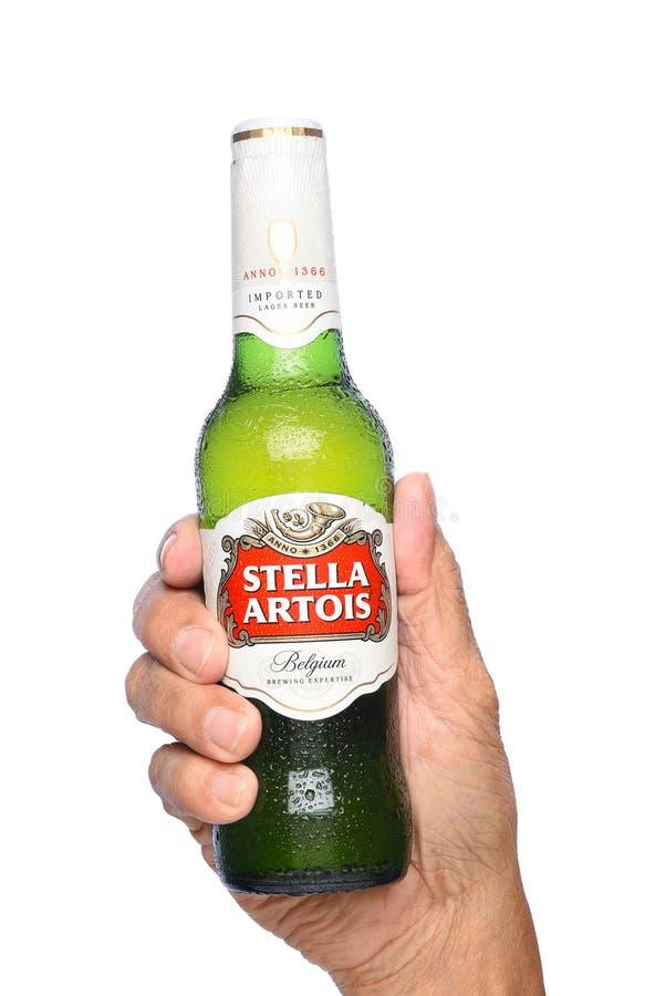 Zbliżenie ręka trzyma butelkę Stella Artois piwo zdjęcia stock