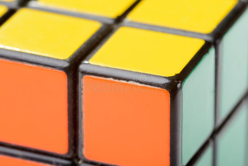 Zbliżenie Rubik sześcian obraz stock