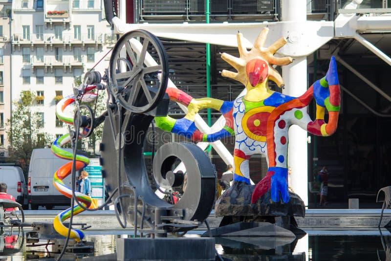 Zbliżenie rzeźby na Stravinsky fontannie, Paryż, Francja obraz royalty free