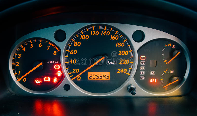 Zbliżenie samochodu deska rozdzielcza zdjęcie stock
