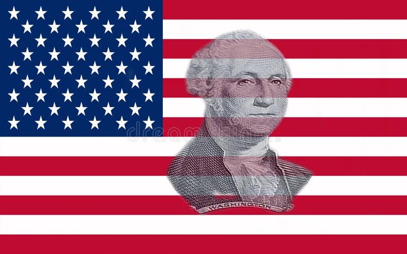 Zbliżenie Stany Zjednoczone Ameryka flaga z portretem George Washington ilustracja wektor