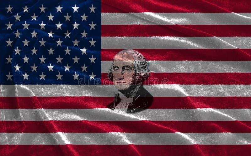 Zbliżenie Stany Zjednoczone Ameryka flaga z portretem George Washington ilustracji