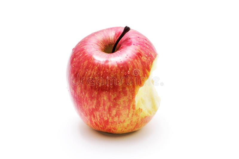 Zbliżenie stronniczo jedzący jabłko na bielu zdjęcie stock