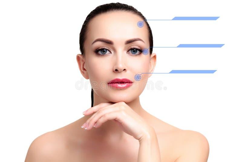 Zbliżenie strzał żeńska ładna twarz z błękitnymi ocenami na skórze zdjęcia stock