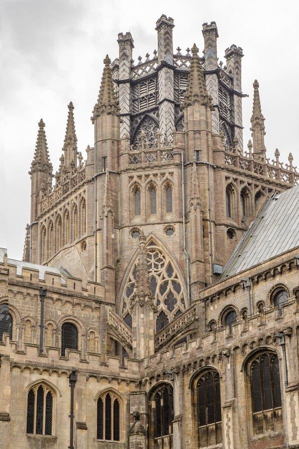 Zbliżenie strzał Ely katedry wierza zdjęcia royalty free