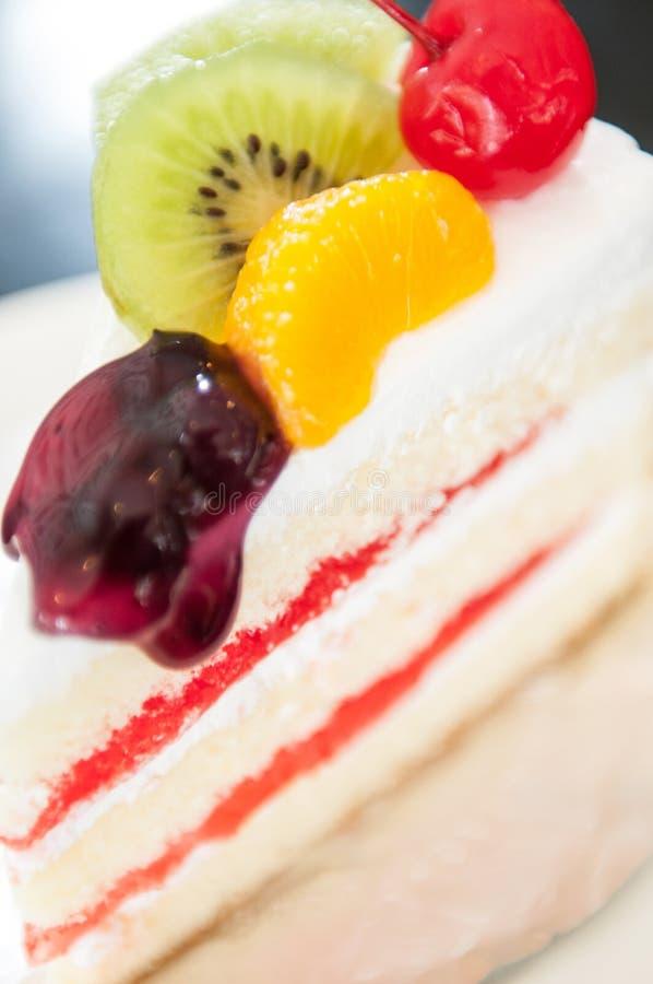 Zbliżenie strzał owoc tort obraz stock