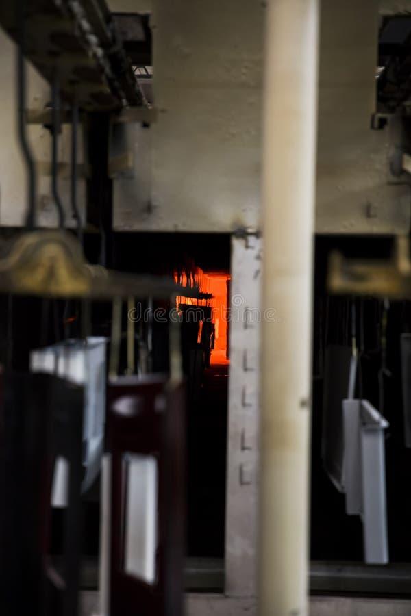Zbliżenie szczegół kuchenki w fabryce zdjęcie stock