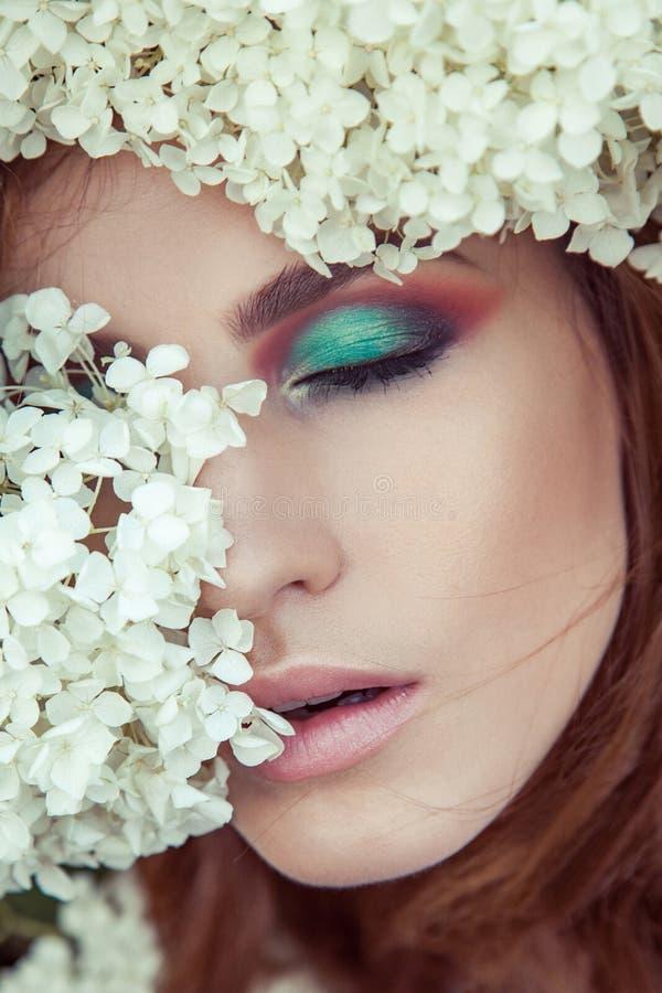 zbliżenie szczegół Perfect makeup, oko, lipsick i wargi, zdjęcie stock
