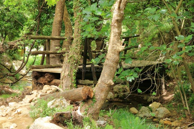 Zbliżenie szpotawy i obdrapany drewniany most na Crete, Grecja obraz stock