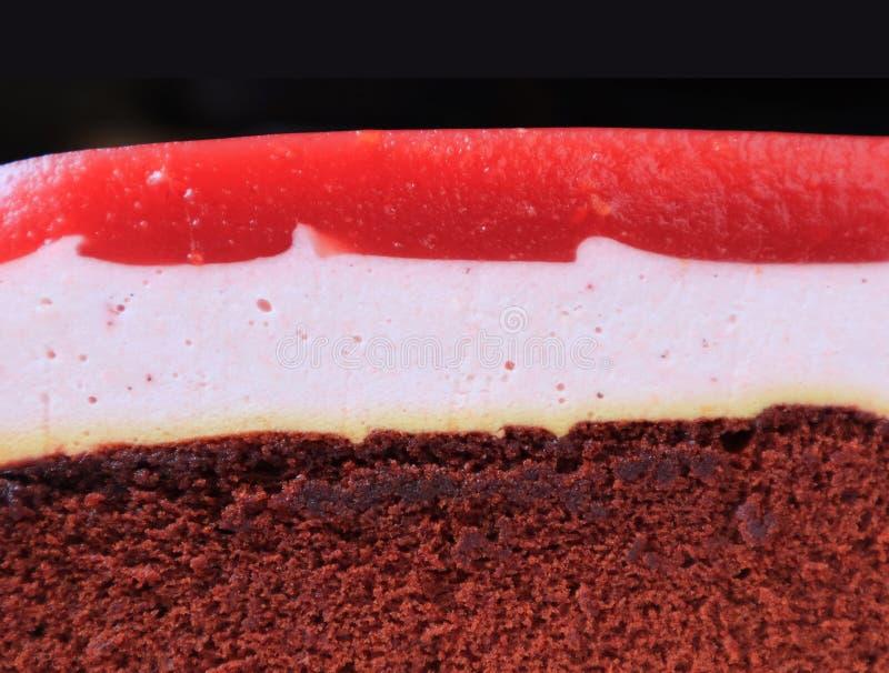 Zbli?enie tekstura Malinowy Mousse z Czekoladowym g?bki warstwy tortem zdjęcie royalty free