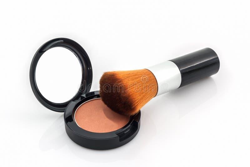 Zbliżenie twarz proszek i makeup muśnięcie obraz stock