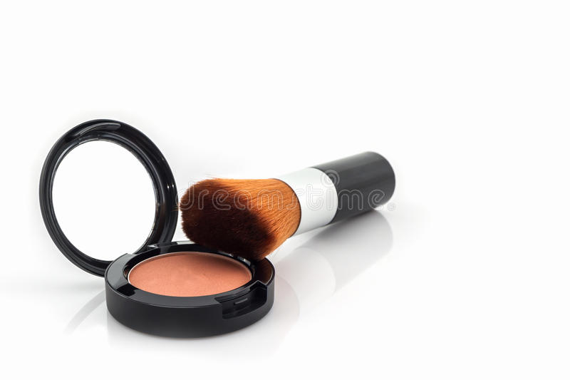 Zbliżenie twarz proszek i makeup muśnięcie zdjęcia royalty free
